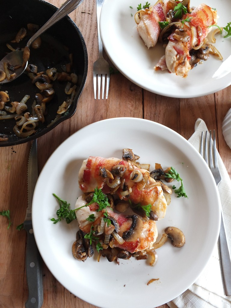 Bacon Wrapped Chicken With Mushrooms and Onions | Cook It Up Paleo
