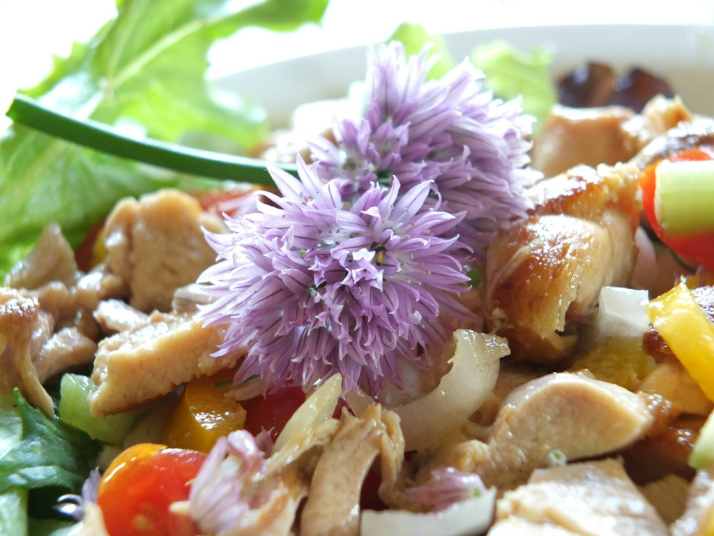 Chive Flower Salad With Chicken | Cook It Up Paleo