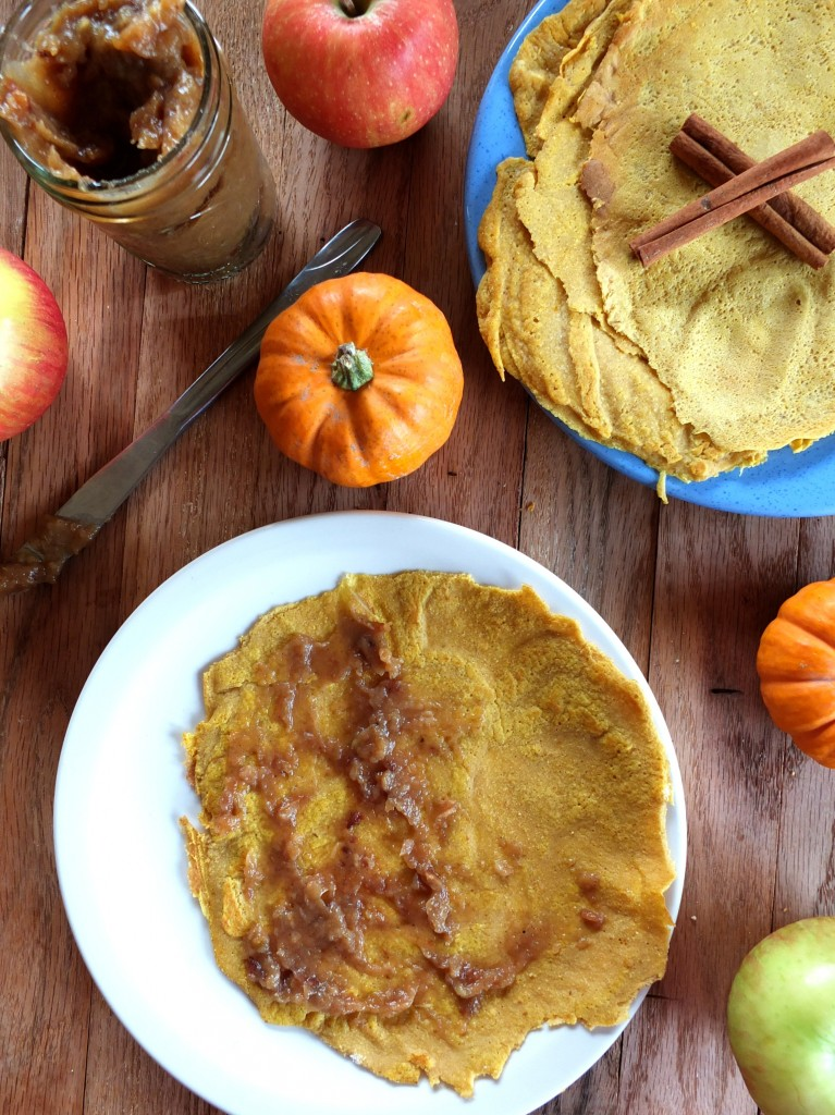 Pumpkin Crepes with Roasted Apple Butter | Cook It Up Paleo