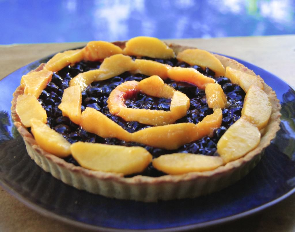 Blueberry and Peach Tart (guest post from Goodies Against the grain)
