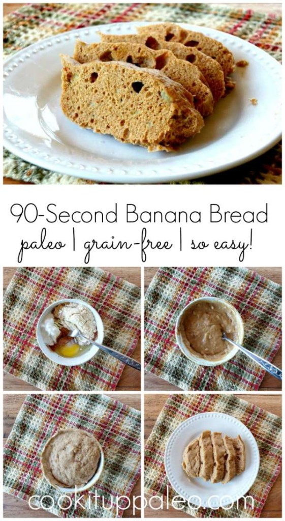 90-Second Paleo Banana Bread - soft, moist, sweet, fluffy perfection! | Cook It Up Paleo