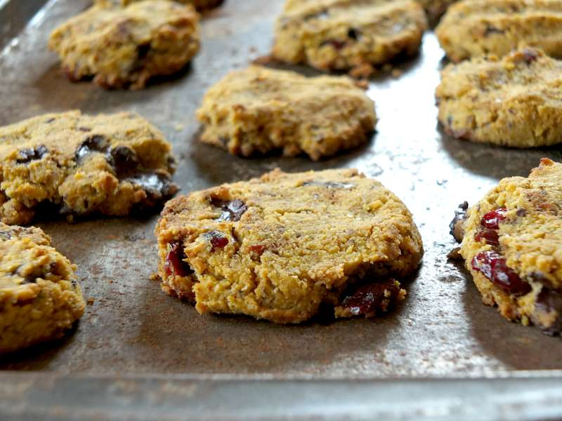Paleo Soft-Bake Pumpkin Chocolate Chip Cookies with Cranberries (egg-free, vegan) | Cook It Up Paleo