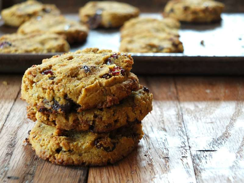 Paleo Pumpkin Chocolate Chip Cookies (soft-baked)