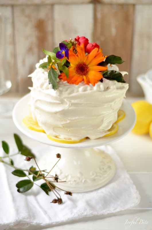 Paleo Lemon Cake with Lemon Curd and Meringue Frosting - guest post from Kaylie of Joyful Bite