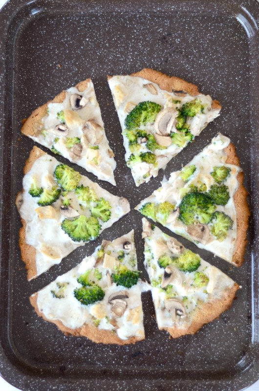 Paleo Coconut Flour Pizza Crust with Alfredo Sauce, Chicken, and Broccoli
