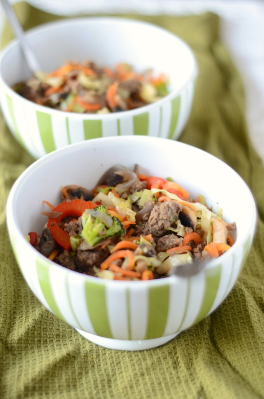 Paleo Hamburger Stir Fry with Cabbage and Carrot Noodles